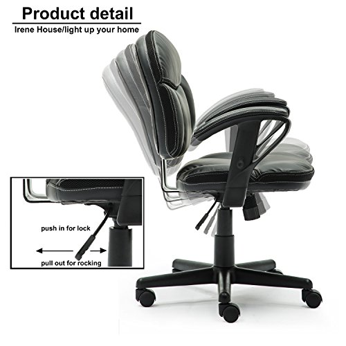 Irene House Comfortable Adult Teen's Swivel Adjustable PU Desk Chair,Ergonomic Mid-Back Student Computer Task Chair,Medium Adult's Home Office Chair(Black) by Irene House (Image #3)'