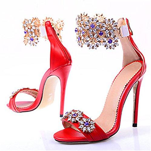Hacerte Toe De Peep Partido Boda Sandalias Mujer DZW Noche Tacones Rosa De diferente Tacones TacóN Red Oro Vestido Y Zapatos WY5X15qwT