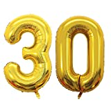GOER 42 Inch Gold 30 Number Balloons,Jumbo Foil Helium Balloons for for 30th Birthday Party Decorations and 30th Anniversary Event