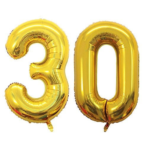 GOER 42 Inch Gold 30 Number Balloons,Jumbo Foil Helium Balloons for 30th Birthday Party Decorations and 30th Anniversary Event]()