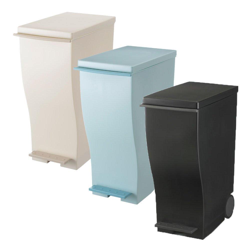 岩谷マテリアル kcud 30 スリムペダル 3個セット ゴミ箱 ごみ箱 ダストボックス おしゃれ ふた付き クード (オールベージュ×オールブルーグリーン×ブラック) B0742869RX オールベージュ×オールブルーグリーン×ブラック オールベージュ×オールブルーグリーン×ブラック
