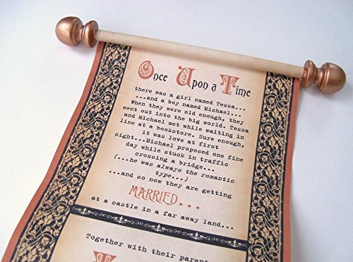- 10 Once Upon A Time Wedding Invitation Scrolls, Handmade Fairytale Invites in Copper and Black