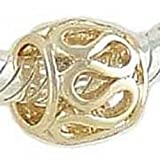 LACY 14K GOLD on 925 Silver Charm BEAD compatible with European Bracelet