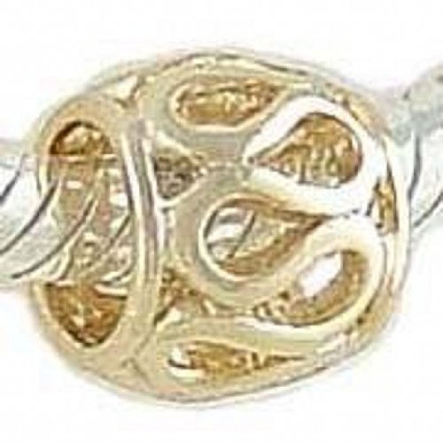 Bracelet Oval Charm 14k (LACY 14K GOLD on 925 Silver Charm BEAD compatible with European Bracelet)
