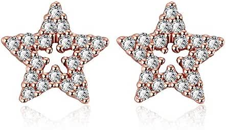 Fashion Stainless Steel Silver Plated Star Crystal Stud Earrings Women-Guillermo B.Randle