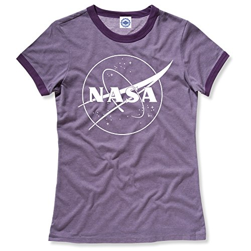 Hank Player U.S.A. NASA 1 Color Logo Women's Ringer T-Shirt (M, Heather Purple) (All The Best For Future Endeavours)
