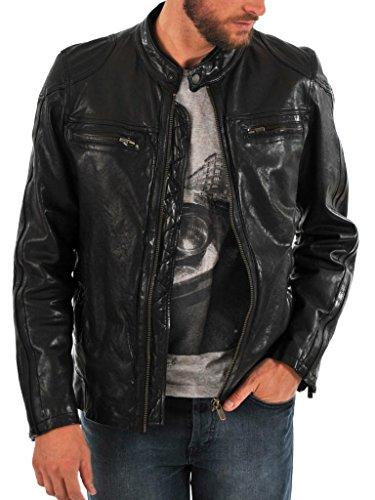 Biker Slim Moto Giacca Cappotto Giacche Black Outwear Auk077 Fit In Uomo Pelle Da q001IFw