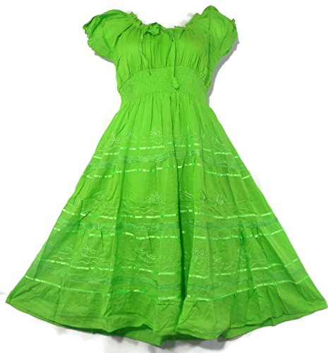 [Victorian Medieval Peasant Boho Maiden Tier Chemise Gown Long Maxi Dress One Size (Green)] (Green Medieval Dress)