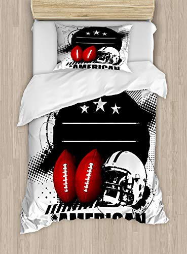 Lunarable Boy's Room Duvet Cover Set Twin Size, American Football Theme Grunge Looking Retro Composition with Balls, Decorative 2 Piece Bedding Set with 1 Pillow Sham, Red White and Black