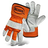 Boss Premium Double Split-Leather Palm Work Gloves - Large - Gray/Orange - Large