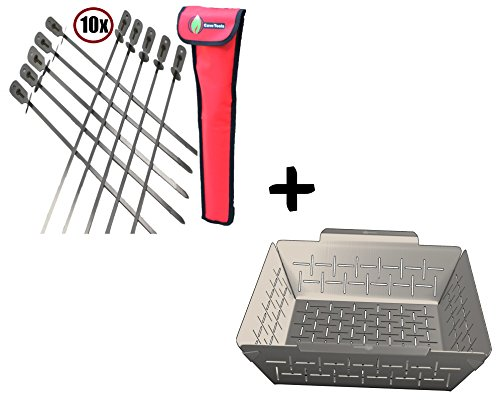 BBQ Skewers Set (10) Extra Long + Vegetable Grill Basket - DISHWASHER SAFE STAINLESS STEEL - Large Non Stick Grid Pan For Veggies & Meat - Best Barbecue Wok Topper Accessories Gift for Dad
