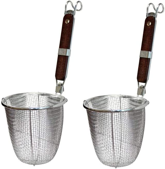 Greenjet 5.5 Inch Kitchen Stainless Steel Fine Wire Mesh Sieve Noodle Strainer Basket, Cooking Filter Spoon Ladle for Pasta Ramen Deep Fried Food with Wood Hook Handle, 2 Pack