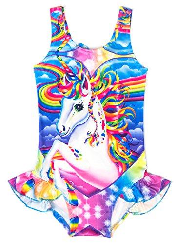 Wenge Girls Rainbow Unicorn Swimsuit Baby Unicorn Print Swimsuit-One Piece Swimwear Bathing Suit Bikinis (4T-5T, Unicorn Fantasy)