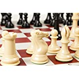 Quadruple Weight Tournament Chess Game Set - Chess Board Game with Staunton Camel Chess Pieces, Red Vinyl Chess Board
