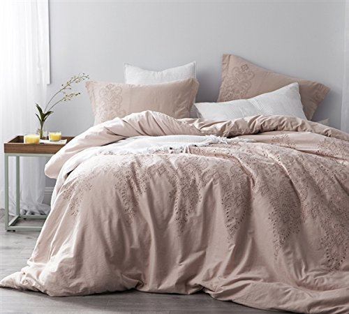 Baroque Ice (Baroque Stitch King Duvet Cover - Ice Pink/Fawn Embroidery)