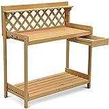 Topeakmart Garden Potting Bench Solid Wood Construction Garden Work Bench offers