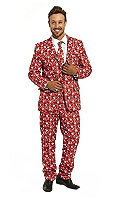 YOU LOOK UGLY TODAY Mens Christmas Costumes Holiday Party Suit Jacket with Tie