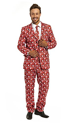 Mens Christmas Costumes Stylish Funny Suit Bachelor Party Suit Jacket with Tie by You Look Ugly Today Santa Pattern (Real Santa Suit)