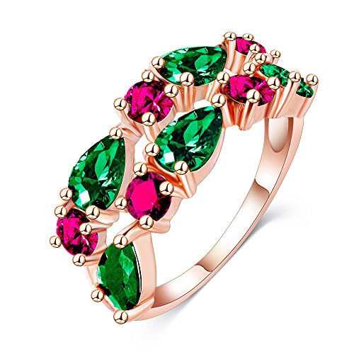 LuckyWeng New Exquisite Fashion Jewelry Rose Gold Double Row Red Green Diamond Ring