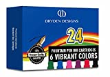 Dryden Fountain Pen Ink Cartridges  Assorted Colors: Black, Blue, Green, Purple, Red, Pink  Short International Standard Size