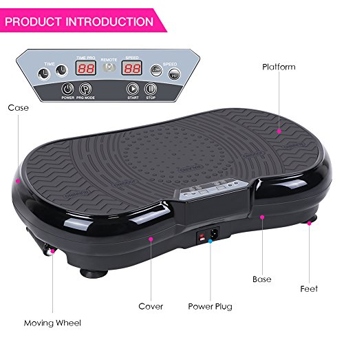 Vibration Plate Machine, Whole Body Vibration Platform Fitness Workout Muscle Trainer with Pulling Rope Body Shaper Exercise Equipment for Home by Estink (Image #1)