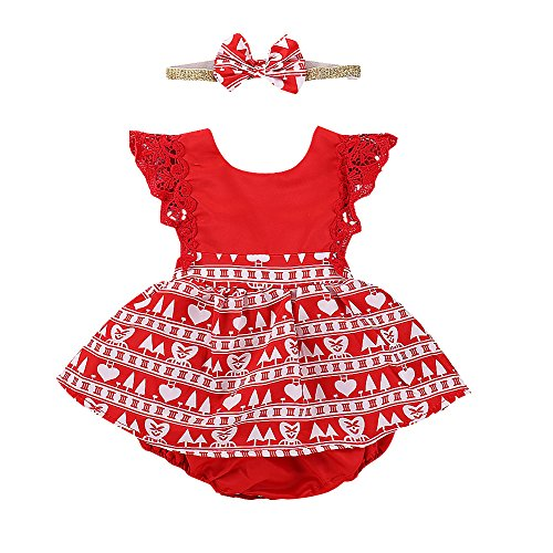 Toddler Baby Girl Christmas Clothes Red Dress Lace Ruffle Sleeve Romper with Headband 2Pcs Outfits (0-6 Months, Red)