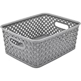 Resin Wicker Storage Tote, Small, 10'' x 8'' x 4'', Basket Weave (2, Grey)