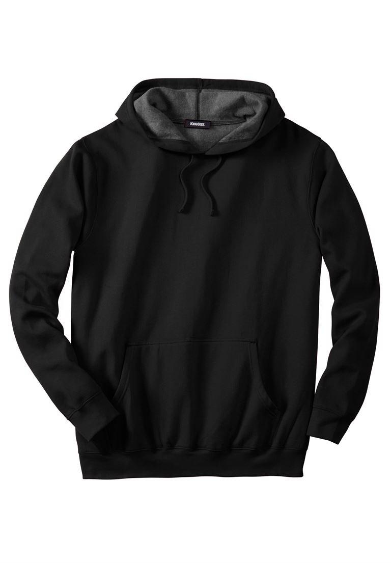 KingSize Men's Big & Tall Fleece Pullover Hoodie, Black Tall-2Xl