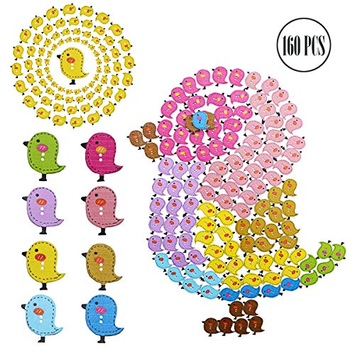 BcPowr 160 PCS Bird Buttons 2 Holes Wood Wooden Buttons for DIY Sewing Crafting