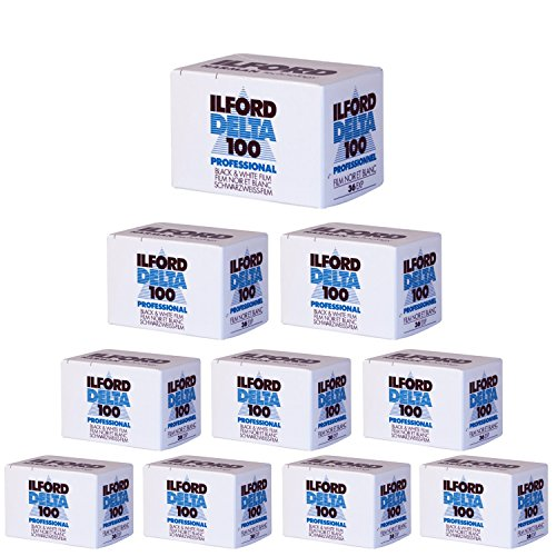 10 Pack of Ilford 1780624 Delta 100 Professional Black-and-White Film, ISO 100, 35mm 36-Exposure