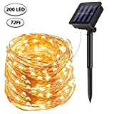 DeepDream Solar String Lights, 72ft 200 LED Solar Powered Fairy Lights Waterproof Outdoor/Indoor Copper Wire Decorative Lighting for Patio Garden Yard Party Wedding Christmas (Warm White)