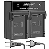Neewer LED Dual Channel Digital Battery Charger for Canon LP-E8 with US Plug EU Plug,Compatible with Canon EOS 550D 600D 700D, EOS Rebel T2i T3i T4i T5i, Kiss X5 X7i LC-E8E DSLR Cameras and BG-E8 Grip