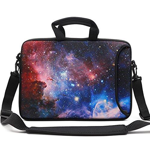 HAOCOO 17 17.3 inch Laptop Shoulder Bag Water-Resistant Neoprene Computer Case Sleeve with Handle Adjustable Shoulder Strap and External Side Pocket, Galaxy ()