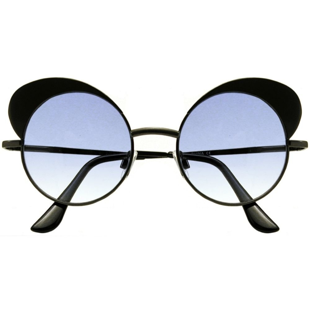 Metal FramedEyebrow Brow Sunglasses Get with It! Colorful Lenses