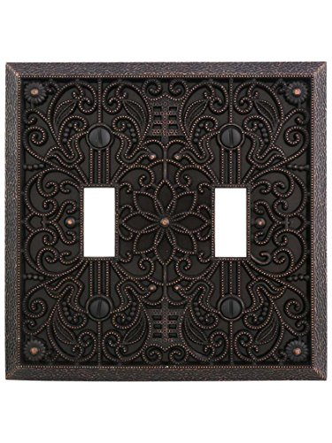 Filigree Double-Toggle Switch Plate in Aged Bronze (Switch Double Accessory Switchplates)