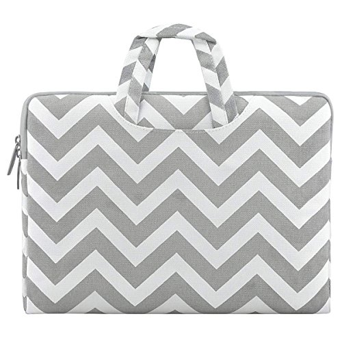 MOSISO Laptop Briefcase Handbag Compatible 13-13.3 Inch MacBook Pro, MacBook Air, Notebook Computer, Chevron Style Canvas Fabric Carrying Sleeve Case Cover Bag, Gray by MOSISO (Image #1)