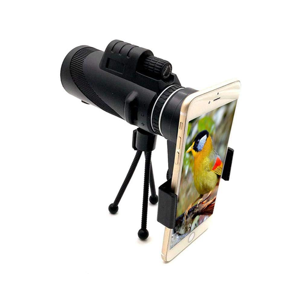 Leegoal Telescopio monocular, 40 x 60 DE Alta Potencia, Adaptador de teléfono móvil, trípode, Resistente al Agua a Prueba de Niebla, óptica FMC BAK4 Prismas para observación de pájaros Caza Viajes