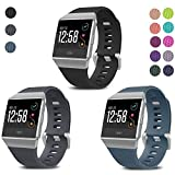 SKYLET Compatible with Fitbit Ionic Bands, 3 Pack Soft Replacement Sport Wristbands Compatible with Fitbit Ionic Smart Watch with Buckle Men Women(Black, Slate, Gray Small)