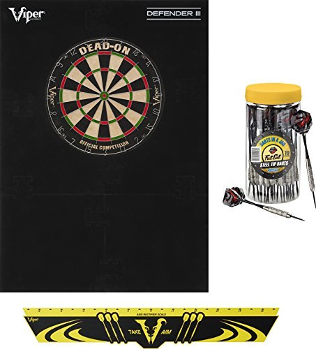 - Viper Defender III Backboard & Sisal/Bristle Steel Tip Dartboard Bundle: Premium Set (Dead On Dartboard, Defender III Backboard, Edge Throw Line, 21pc Jar of Darts)