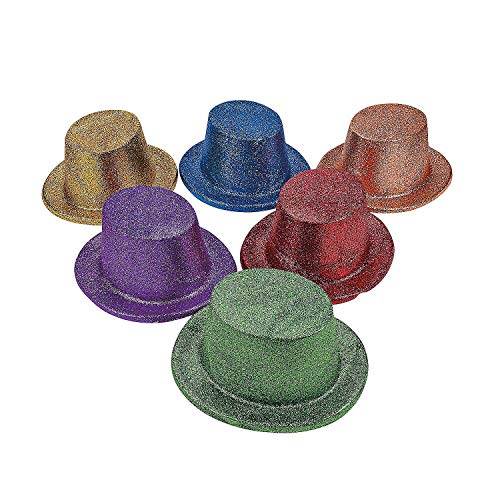 Fun Express - Asst Bright Glitter Top Hats for New Year's - Apparel Accessories - Hats - Party Hats - New Year's - 12 -