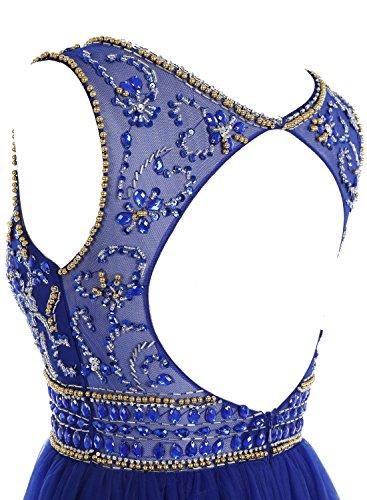Bbonlinedress Mujer Vestido Largo Tul Elegante Espalda Descubierta Fiesta Noche Boda Ceremonia Violeta