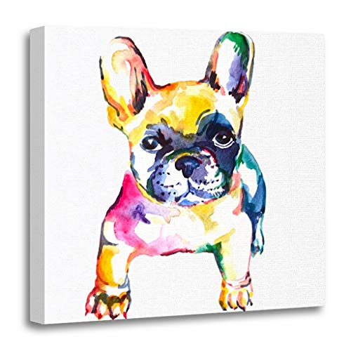 vas Print Wooden Frame Artwork Frenchie French Bulldog Original Watercolor of Dog Rainbow Decorative 16x16 Inches Wall Art for Home Decor (French Impressionism Painting)