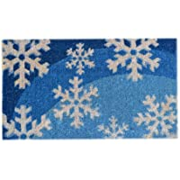 Imports Decor Printed Coir Doormat, Blue Snowflakes, 18-Inch by 30-Inch