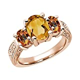2.25 Ct Yellow Citrine Ecstasy Mystic Topaz 925 Rose Gold Plated Silver 3-Stone Ring (Available in size 5, 6, 7, 8, 9)