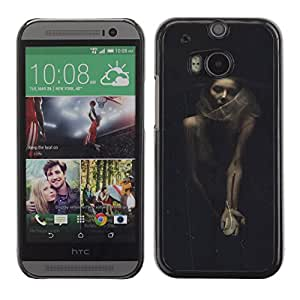 For HTC One M8 Case , Halloween Woman Vignette Retro - Diseño Patrón Teléfono Caso Cubierta Case Bumper Duro Protección Case Cover Funda