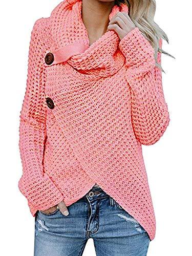 Huiyuzhi Women Long Sleeve Turtleneck Button Down Knit Hooded Cardigan Pullover Sweater Jumper (L, Rose) ()