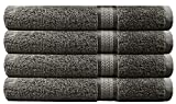 Cotton Craft Ultra Soft 4 Pack Oversized Extra Large Bath Towels 30x54 Charcoal Weighs 22 Ounces - 100% Pure Ringspun Cotton - Luxurious Rayon Trim -...