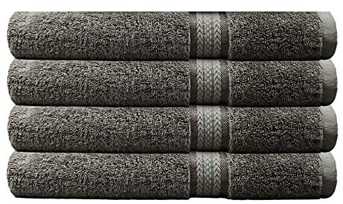 Cotton Craft - 4 Pack - Ultra Soft Oversized Extra Large Bath Towels 30x54 Charcoal- 100% Pure Ringspun Cotton - Luxurious Rayon Trim - Ideal for Daily Use - Each Towel Weighs 22 Ounces