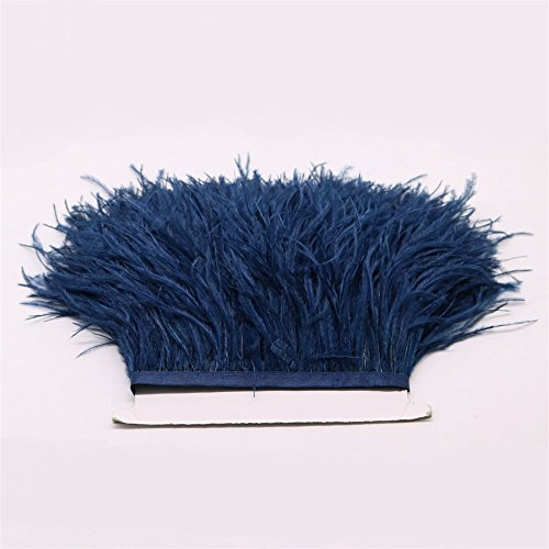 FQTANJU 2 Yards Soft & Natural Ostrich Feathers Fringe Trims Ribbon Used for Dress, Sewing, Craft clothing, lighting decoration, Clothing DIY, etc. (Navy blue)