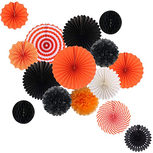 Halloween Engagement Party (Hanging Party Decorations Set Tissue Paper Fan Paper Pom Poms Flowers and Honeycomb Ball for Halloween Thanksgiving Birthday Engagement Party Decor Black Orange)